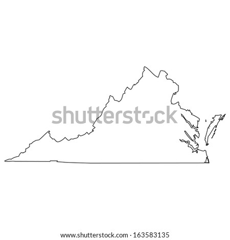 High detailed vector map - Virginia  - stock vector
