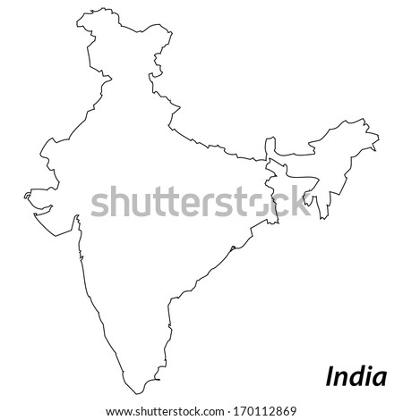 High detailed vector map with contour - India  - stock vector