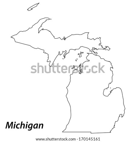 High detailed vector map with contour - Michigan  - stock vector