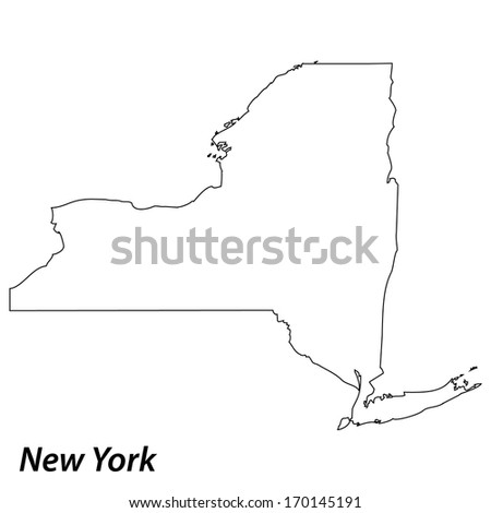 High detailed vector map with contour - New York  - stock vector