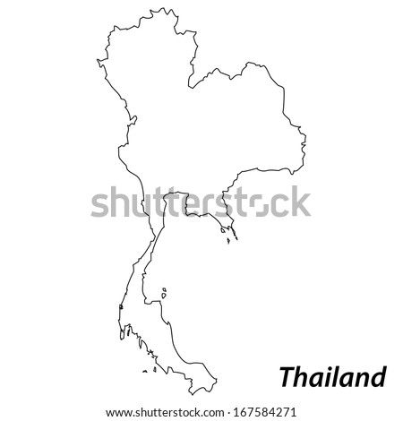 High detailed vector map with contour - Thailand  - stock vector