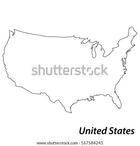 Usa Map Outline Vector Usa Outline Stock Imag...