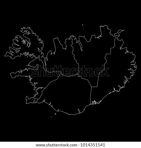 High detailed vector map with counties/regions/states - Iceland