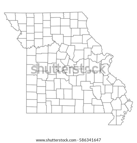 High Detailed Vector Map Countiesregionsstates Missouri Stock - Map of missouri counties