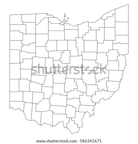 High Detailed Vector Map Countiesregionsstates Ohio Stock Vector - Ohio map counties