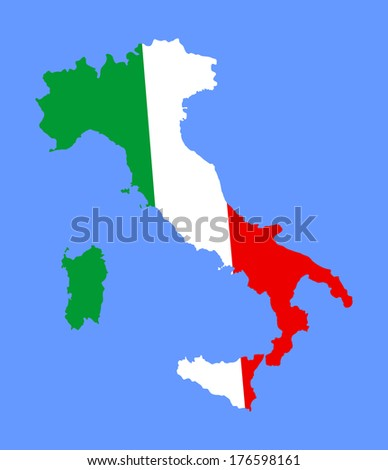 High detailed vector map with flag - Italy isolated on sea blue background. No outline illustration. Tricolor flag - stock vector