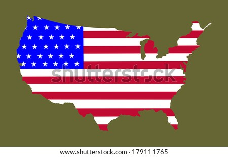 High detailed vector map with flag - United States,  silhouette isolated on retro green background.  - stock vector