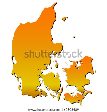 High detailed vector map with shadow in separated layer - Denmark  - stock vector
