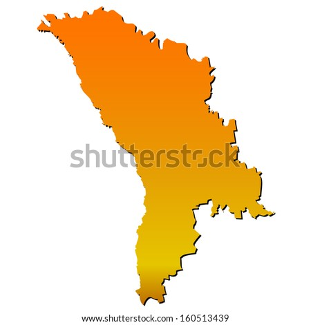 High detailed vector map with shadow in separated layer - Moldova