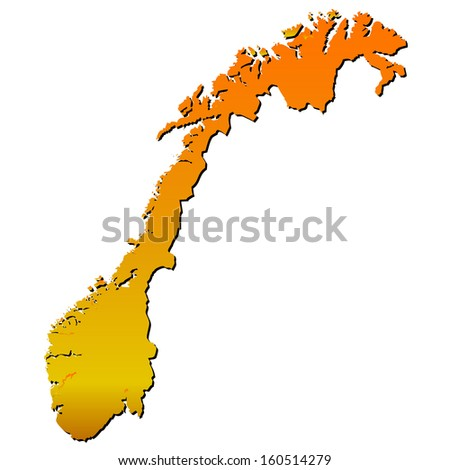 High detailed vector map with shadow in separated layer - Norway  - stock vector