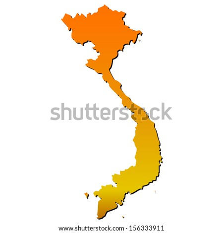 High detailed vector map with shadow in seperated layer - Vietnam  - stock vector