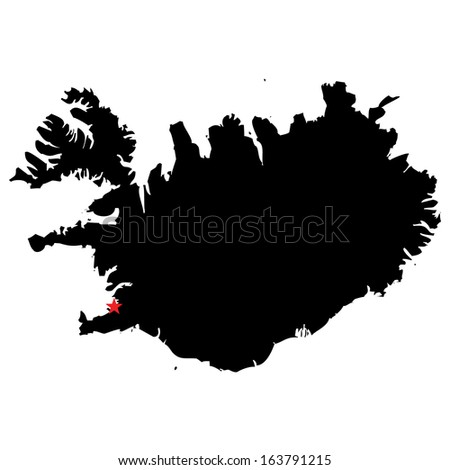 High detailed vector map with the capital city - Iceland
