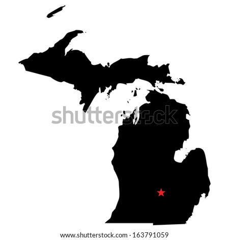 High detailed vector map with the capital city - Michigan  - stock vector