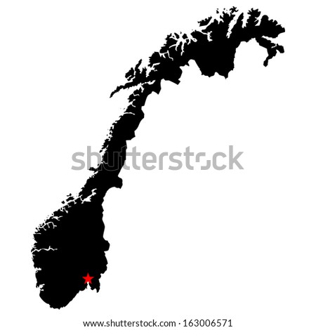 High detailed vector map with the capital city - Norway  - stock vector
