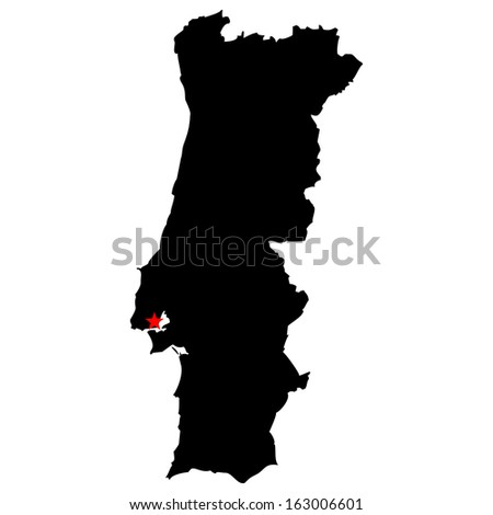 High detailed vector map with the capital city - Portugal