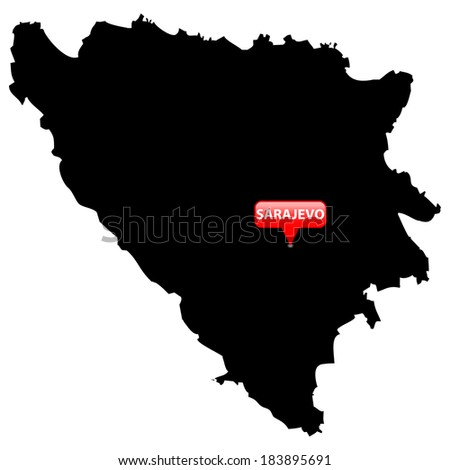 High detailed vector map with the Capital in a red bubble - Bosnia & Herzegovina  - stock vector