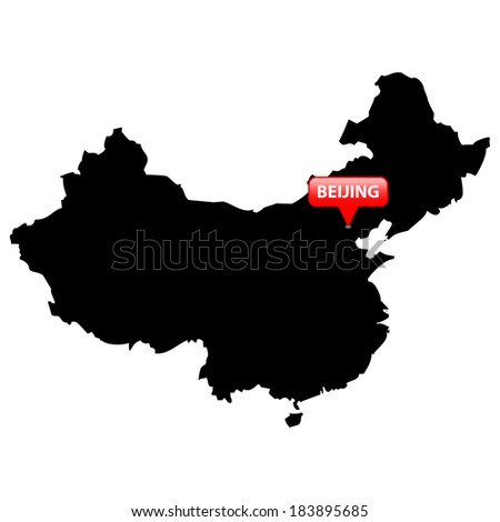 High detailed vector map with the Capital in a red bubble - China  - stock vector