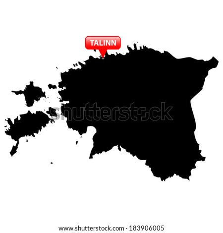High detailed vector map with the Capital in a red bubble - Estonia