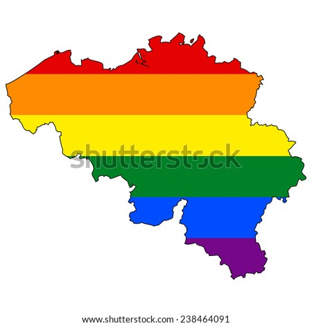 High detailed vector map with the pride flag inside - Belgium