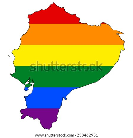 High detailed vector map with the pride flag inside - Ecuador