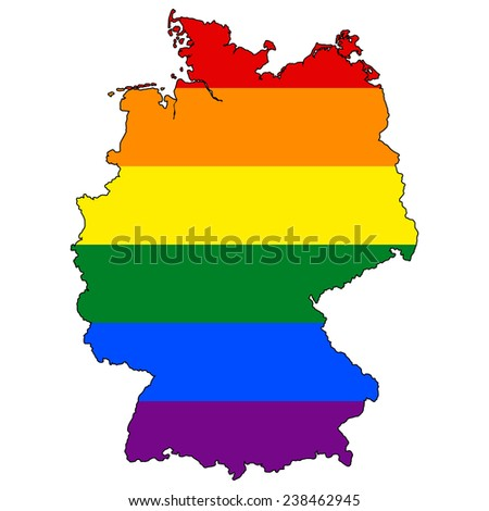 High detailed vector map with the pride flag inside - Germany