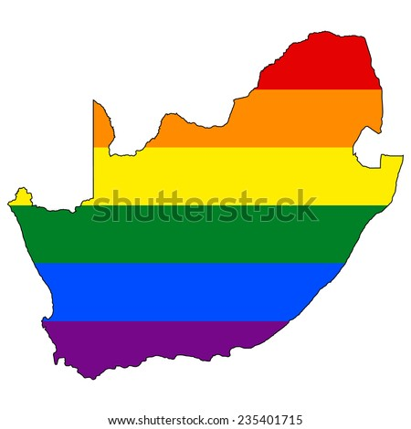 High detailed vector map with the pride flag inside - South Africa - stock vector