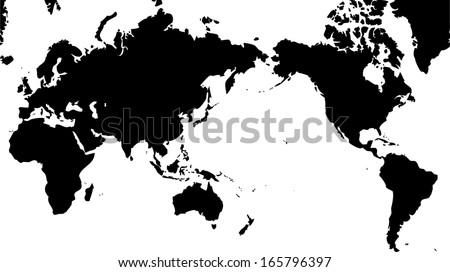 High detailed vector map world map vectores en stock 165796397 high detailed vector map world map with pacific centered gumiabroncs Gallery