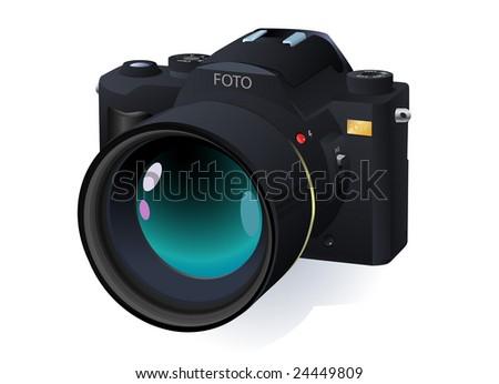 high detailed vector professional SLR camera - stock vector