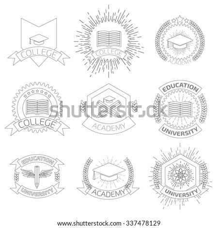 High education logos set. - stock vector
