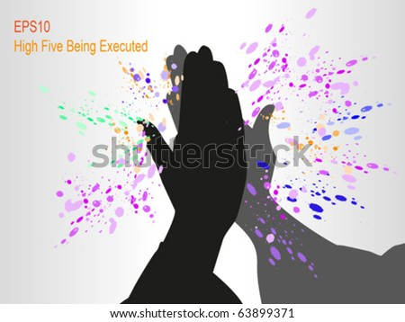 High five being executed with colorful grunge around - stock vector