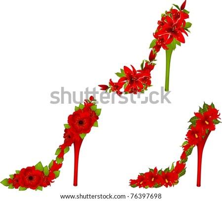 High heel from beautiful flowers. Vector - stock vector