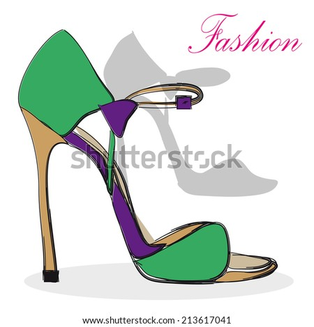 High heel  purple and green shoes   - stock vector