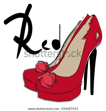 High heel red shoes with flower