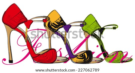 High heel  red, yellow, green shoes - stock vector