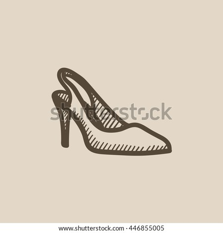 High heel shoe vector sketch icon isolated on background. Hand drawn High heel shoe icon. High heel shoe sketch icon for infographic, website or app. - stock vector