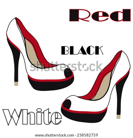 High heel  white and red shoes  - stock vector