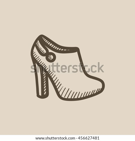 High-heeled ankle boot vector sketch icon isolated on background. Hand drawn High-heeled ankle boot icon. High-heeled ankle boot sketch icon for infographic, website or app. - stock vector