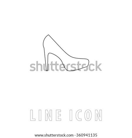 high heels simple flat button contour stock illustration
