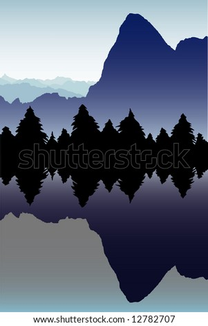 High mountain and silhouetted pine trees reflected in alpine lake