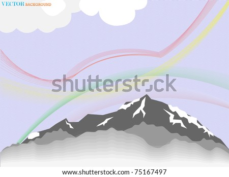 High mountain day abstract illustration - stock vector