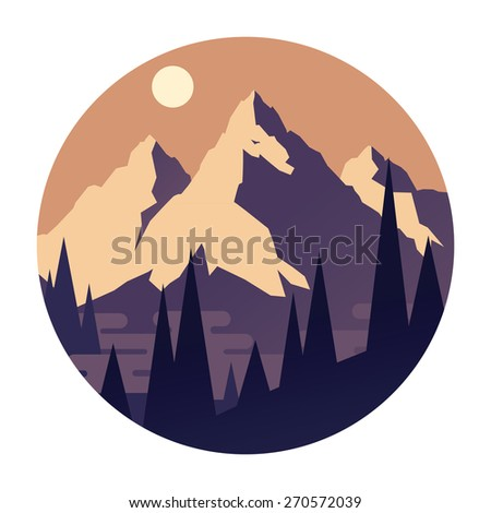 High mountains. Vector illustration. - stock vector