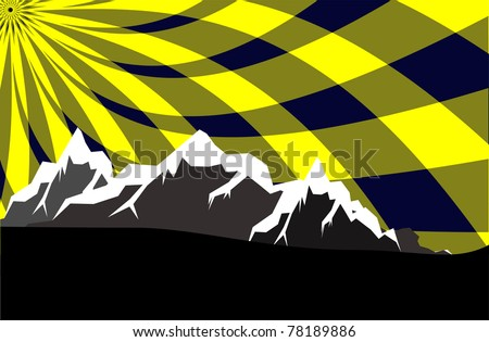 high mountains with abstract sky - stock vector