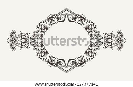 High Ornate Old Rhombus Frame - stock vector