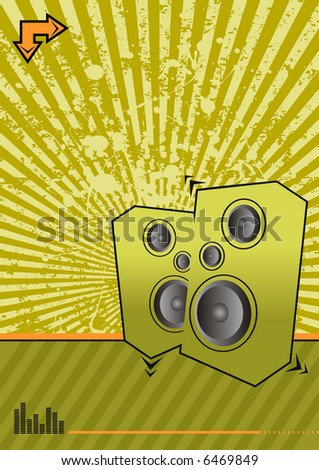 high powered speakers on green grunge background - stock vector