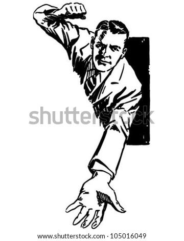 High Pressure Salesman - Retro Clipart Illustration - stock vector