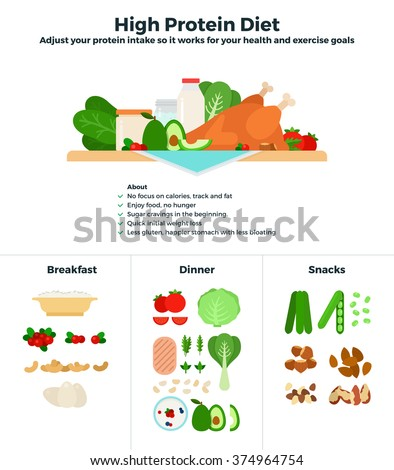High Protein Diet Vector Flat Illustrations Stock Photo Photo