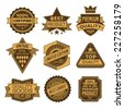 High quality assorted designs vector two colors vintage badges and labels set 1.  - stock vector