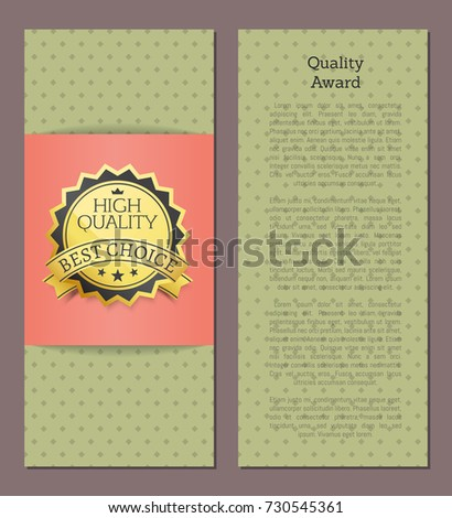 High quality award best choice vector illustration banner on green background with rhombus on with text, advertising poster design