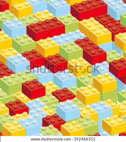 High quality background of colored plastic bricks. Each detail saved separately - stock vector