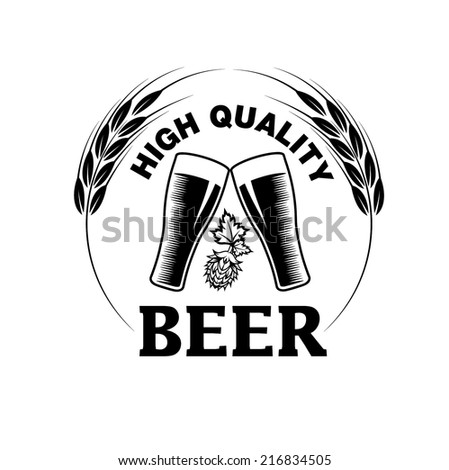 high quality beer emblem - stock vector